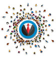 a lot of people stand in a circle jacket vector image vector image