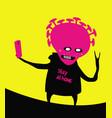 a sarcastic vicious coronavirus takes selfie vector image