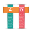 abstract paper infografics template with 2 options vector image vector image