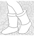 adult coloring bookpage a pair of boots on the vector image
