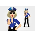 blonde female policewoman cop showing stop gesture vector image