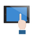 businessman hold tablet and pointing empty blue vector image vector image