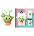 cactus princess - mockup for your idea vector image vector image