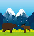 canadian landscape with moose and grizzly bear vector image vector image