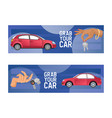 car hand holding automobile key of vehicle vector image vector image