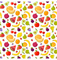 cartoon fruits pattern colorful seamless vector image