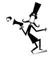 cartoon long mustache man with megaphone vector image vector image