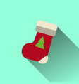 christmas sock icon with long shadow vector image vector image