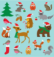 christmas woodland animals vector image
