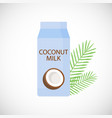 coconut milk in box flat icon vector image vector image