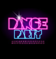 creative poster dance party glow alphabet vector image