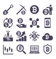 cryptocurrency mining icons vector image vector image