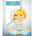 cute blond in a yoga lotus position with bunner vector image vector image