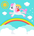 Cute little girl riding on a pony vector image