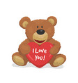 cute teddy bear with a heart i love you design vector image