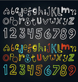 Different color doodle alphabet and numbers vector image