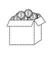 dotted shape open box with coins cash money inside vector image