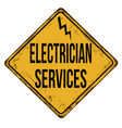 electrician services vintage rusty metal sign vector image vector image