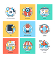 Flat Color Line Design Concepts Icons 14 vector image