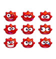 funny cartoon red jelly monster vector image vector image
