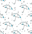 hand drawn umbrella and rain drops pattern vector image vector image