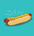 hotdog fast food with blue background and flat vector image
