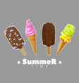 ice cream summer set vector image vector image