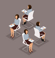 isometric business woman front view rear view vector image vector image