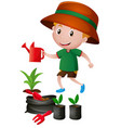 little boy watering the plants vector image