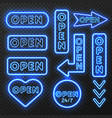 neon open signs collection vector image vector image
