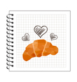 origami baked croissant on notepad paper vector image