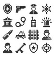 police icons set on white background vector image vector image