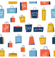 sale shopping bags seamless pattern on white vector image vector image