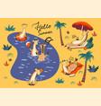 set giraffes on vacation pool graphics vector image
