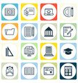 set of 16 education icons includes home work vector image vector image