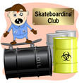 skateboarding club cartoon vector image vector image