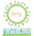 Spring flowers frame and border vector image vector image