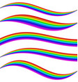 Striped rainbow waves - graphic element set vector image vector image