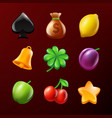 symbols of slot machine set of realistic vector image