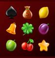 symbols slot machine set realistic vector image vector image