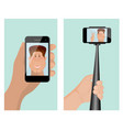 taking a self portrait with monopod self portrait vector image