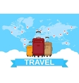 travel bag and world map vector image vector image
