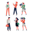 tv media reporter with microphone interviewing vector image vector image