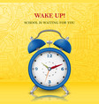 wake up background with alarm clock vector image
