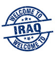 welcome to iraq blue stamp vector image vector image
