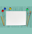 white blank sheet paper on a wooden table vector image vector image