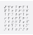 set of calligraphic letters F handwritten vector image