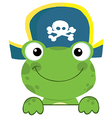 Frog With Pirate Hat Over A Sign Board vector image