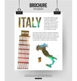 Italy travel background Brochure with Italy map vector image