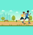 active people characters running distance in park vector image